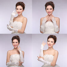 Exquisite Ivory Lace Long Fingerless Wedding Accessory Bridal Party Gloves
