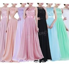Lace/Long Formal Wedding Evening Ball Gown Party Prom Bridesmaid Dress Size 8-20