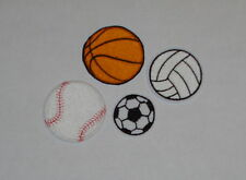 """Sports"" Iron-On Embroidered Patches- Basketball, Soccer, Baseball, Volleyball"