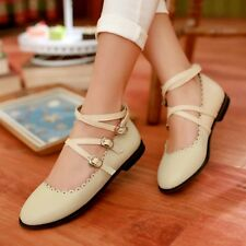Cosplay Mary Janes Buckle Strap Sweet Women Pumps Shoes Flats Size US 3.5-10.5