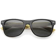 sunglassLA Genuine Bamboo Wood Spring Loaded Temples Horn Rimmed Sunglasses