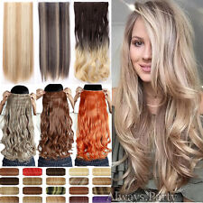 100% NEW Clip In Hair Extensions Long As Human Straight Curly 3/4 Full Head A92