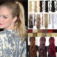 "Long ponytail 10% human hair extensions 18-26"" wrap around pony tail clip in US"