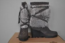 MUKS Designer Grey STUDDED Suede Rabbit Fur Wedge Boots Mukluks NIB Sz 9 10