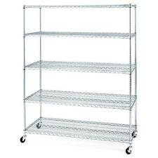 Seville Classics 5 Shelf Steel Wire Shelving System with Casters Wheels