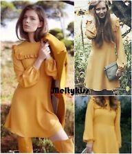 NWT ZARA AW16 WOMEN'S MUSTARD MINI FRILLS LONG SLEEVE DRESS Sz-S BLOGGERS!