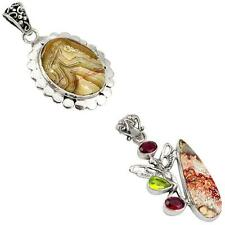 925 sterling silver mexican laguna lace agate pendant jewelry jewelexi 5495A
