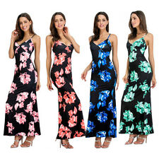 Women Sexy Spaghetti Strap V-Neck Floral Backless Party Long Maxi Dress Cheaply