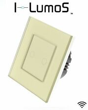 I LumoS Modern Gold Glass Frame Touch, Dimmer, Remote & WIFI LED Light Switches