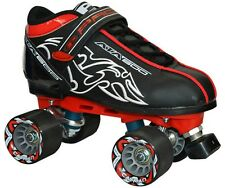 New Custom Pacer Black ATA-600 Quad Roller Speed Skates w/ Cayman Wheels ABEC 7