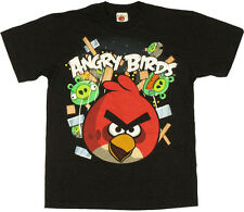 ANGRY BIRDS SMASH IT! Youth Kids Black T-Shirt - Red Bird - Licensed