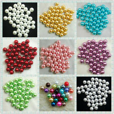 100X Colorful Glass Pearl Round Spacer Imitation Loose Pearl Beads Crafts DIY