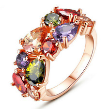 Colorful Crystal Zircon Splendid Charming  Ring Luxury Jewelry Rose Gold Ring