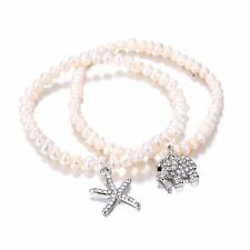 Lovely Charm Crystal Rhinestone Starfish Elephant Beaded Bracelet Jewelry Gift