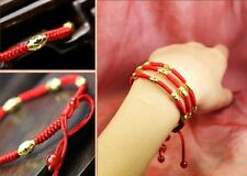 Chinese Hand Braided Red Lucky String Rope 14K Gold plated Adjustable Bracelet