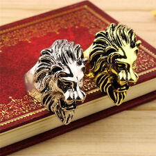 Classical Gold/Silver Lion's Head Ring Men's Cool Ring American Size 8-11