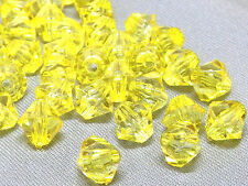 6mm 200/400/600/800/1000pcs YELLOW FACETED ACRYLIC PLASTIC BICONE BEADS TY2984