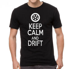 Keep Calm And Drift  Men's Black T-shirt NEW Sizes S-2XL
