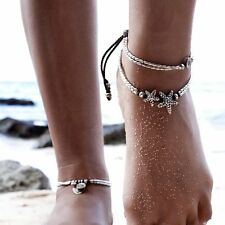 Women Retro Silver Starfish Ankle Bracelet Anklet Barefoot Chain Charm Jewelry