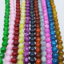 30Pcs Charm Beads Mixed Round Glass Loose Spacers Beads Wholesale 8mm DIY Craft