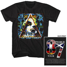 Def Leppard Mens T-Shirt in SM - 5XL New FADED '87 HYSTERIA TOUR Black Cotton