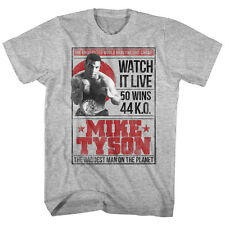 Mike Tyson Mens New Boxing T-Shirt Watch It Live Gray Heather Sizes SM - 2XL