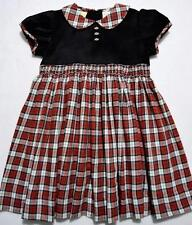 CARRIAGE BOUTIQUES SMOCKED RED PLAID & BLACK VELVET HOLDIAY DRESS~24M,2T,5Y~New