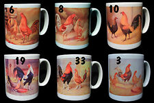 OLD ENGLISH GAME POULTRY, BANTAM  MUGS..Spangled, Pile, Silver Duckwing, Ginger