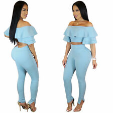 Women Sexy Off Shoulder Ruffle Top Long Pants Leggings 2 Pieces Jumpsuit Casual