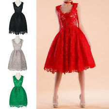 SEXY WOMEN SLEEVELESS HOLLOW LACE PATCHWORK A-LINE SLIM DRESS PROM PARTY SUPERB