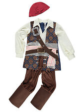 George Boys Kids Official Pirates Of The Caribbean Jack Sparrow Fancy Dress Cost