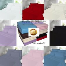 New Feel Soft Flannelette 100% Brushed Cotton Fitted/Flat Bed Sheets&Pillow Case