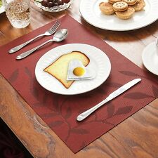 Leaves Placemats Set of 2/4/6 Kitchen Placemats Table Place Mats Woven Vinyl