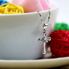 925 Sterling Silver Chic Cross Crystal Necklace Silver Pendant Women Jewelry D
