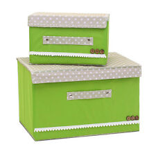 With Cover Fabric Organizer Cloth 2pcs Folding Storage Boxes Nonwoven