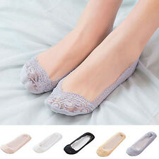 Cute Womens Cotton Blend Lace Antiskid Invisible Low Cut Socks Toe Ankle Socks