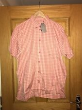 MAHARISHI MENS MHI S/S PINK COTTON CHECK SHIRT SIZE LARGE!!