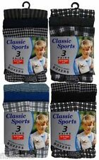 3 Pack Boys kids Classic Check Cotton Jersey Boxer Shorts Ages 2 -13 Years