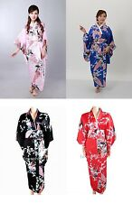 Women Peacock Vintage Yukata Japanese Kimono Costume Dress Obi Haori Robe Gown