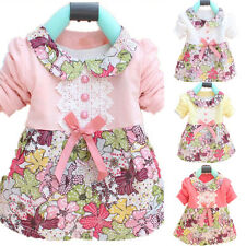 Toddler Baby Floral Princess Dress Bowknot One Piece Kids Dress Skirt Costume