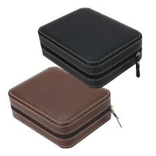 Watch Travel Box Storage Travel Case Faux Leather with 4 Slot Zipper Closure Box