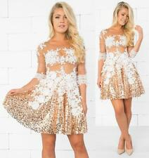White Nude Gold Sheer Mesh Lace Sequin 3/4 Sleeve Scoop Flare Mini Dress NWT