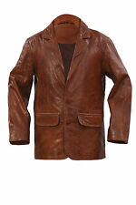 Infinity New Mens Smart Brown Blazer Slim Fit 2 Button Down Leather Jacket