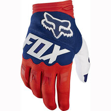 FOX RACING MENS SMALL RED WHITE BLUE DIRTPAW RACE GLOVES MX ATV MOTOCROSS RACING