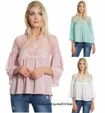 Victorian Ruffle Floral Lace 3/4 Sleeve Baby Doll Chiffon Blouse Shirt Top S M L