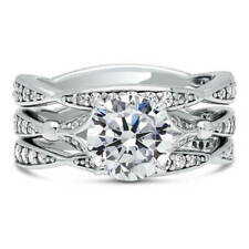 BERRICLE Sterling Silver Round CZ Solitaire Engagement Ring Set 2.82 Carat