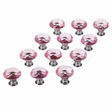 Pink Knobs Pull Crystal Glass Cabinet Drawer Furniture Door Handle Dia 30mm