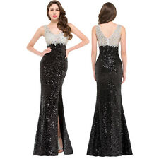 V-neck Sequined Bridesmaid Formal Gown Party Cocktail Evening Prom Mermaid Dress