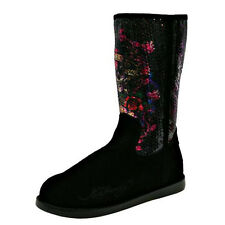 ED HARDY BLACK ICELAND SUEDE WOMEN'S BOOTS