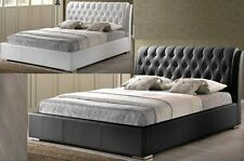 WHITE OR BLACK MODERN FAUX LEATHER DOUBLE FULL BUTTON TUFTED PADDED BED FRAME
